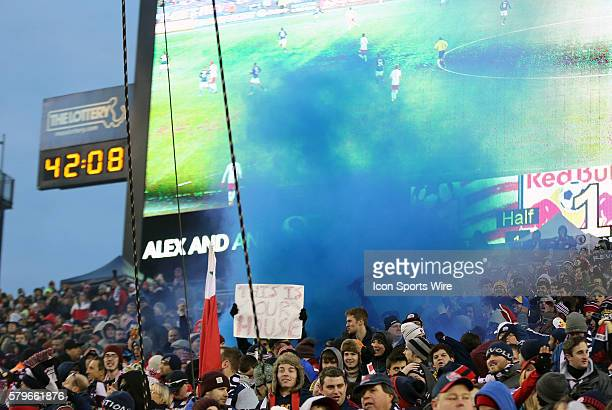 Smoke bomb detonated in The Fort after their first goal The New York Red Bulls and the New England Revolution played to a 22 draw in the second leg...