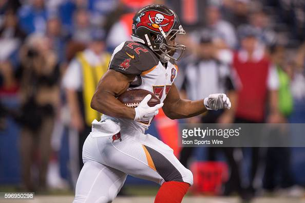 Tampa Bay Buccaneers running back Doug Martin runs for a first down during a NFL game between the Indianapolis Colts and Tampa Bay Buccaneers at...