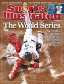 November 3 2008 Sports Illustrated Cover Baseball World Series Aerial view of Philadelphia Phillies Carlos Ruiz in action making tag out during home...