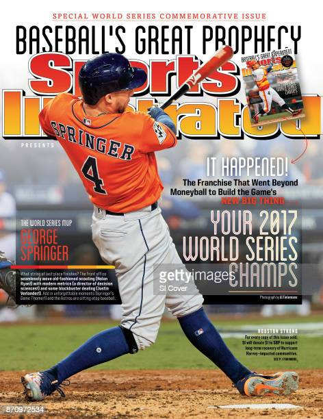 November 3 2017 Sports Illustrated Presents Cover World Series Houston Astros George Springer in action hitting 2run home run in 2nd inning to take...