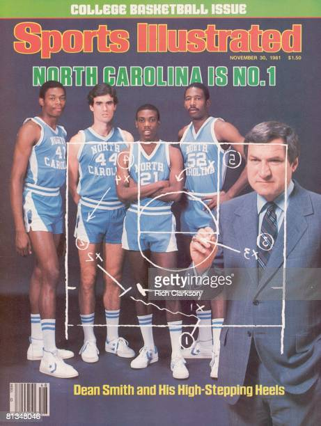 November 30 1981 Sports Illustrated Cover College Basketball Portrait of North Carolina coach Dean Smith with Sam Perkins Matt Doherty Jimmy Black...