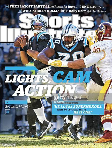November 30 2015 Sports Illustrated Cover Carolina Panthers QB Cam Newton in action looking to pass as guard Trai Turner blocks Washington Redskins...