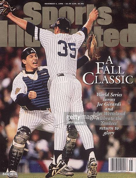 November 4 1996 Sports Illustrated Cover Baseball World Series New York Yankees Joe Girardi victorious with John Wetteland after making final out and...