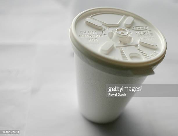 November 4 2008 A styrofoam cup is seen with a white lid Toronto Star/Pawel Dwulit