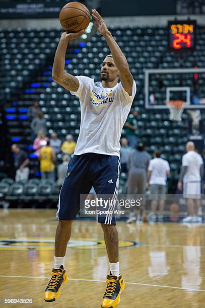 Indiana Pacers guard George Hill warms up before a NBA game between the Indiana Pacers and Boston Celtics at Bankers Life Fieldhouse in Indianapolis...