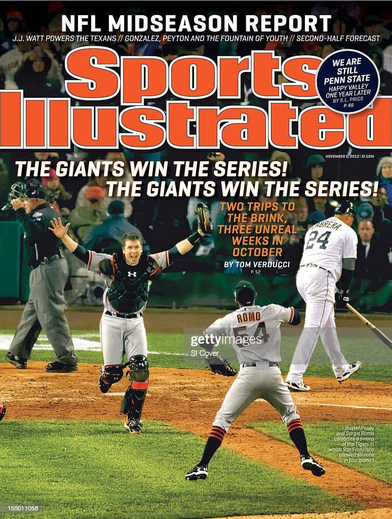 November 5, 2012 Sports Illustrated Cover: San Francisco Giants Buster Posey (28) and Sergio Romo (54) victorious after winning Game 4 and championship series vs Detroit Tigers at Comerica Park. View of Tigers Miguel Cabrera (24) upset, walking off field after making strikeout for final out of game during bottom of 10th inning. Damian Strohmeyer F79 )