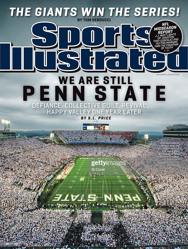 November 5, 2012 Sports Illustrated Cover: Overall view of Penn State fans wearing all white in stands during 'White Out' game vs Ohio State at Beaver Stadium. Simon Bruty F76 )