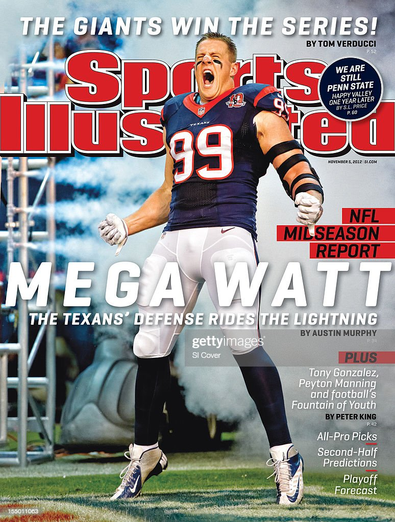 November 5, 2012 Sports Illustrated Cover: Houston Texans J.J. Watt (99) during player introductions before game vs Green Bay Packers at Reliant Stadium. John W. McDonough F96 )
