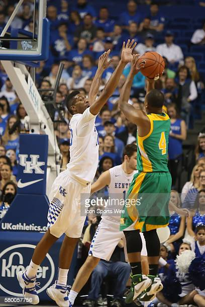 November 6 2015 Wildcats freshmen guard Marcus Lee blocks the shot of Thorobreds sophomore guard Malcolm Smith during the 1st half of the NCAA...