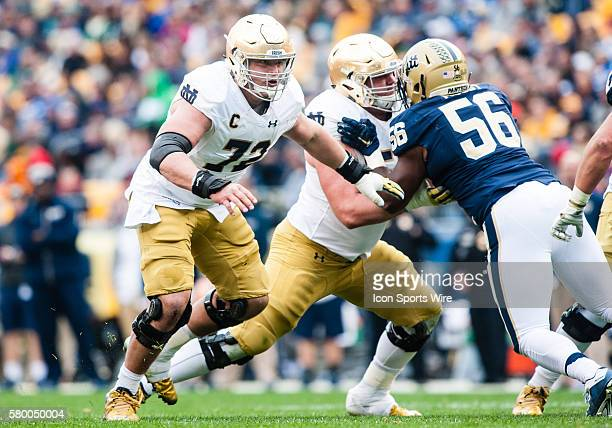 Notre Dame Fighting Irish center Nick Martin mans his position during the second half in the game between the Notre Dame Fighting Irish and the...