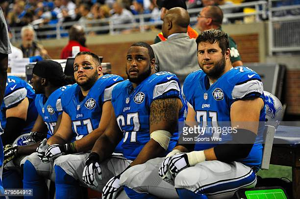 Detroit Lions center Dominic Raiola Detroit Lions guard Rob Sims and Detroit Lions tackle Riley Reiff during the game on Sunday afternoon Ford Field...
