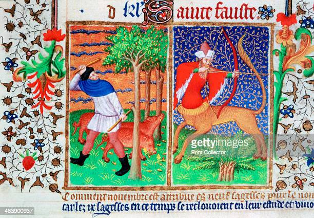 feeding pigs and Sagittarius c1423 Illustration from the Bedford Hours in the collection of the British Library