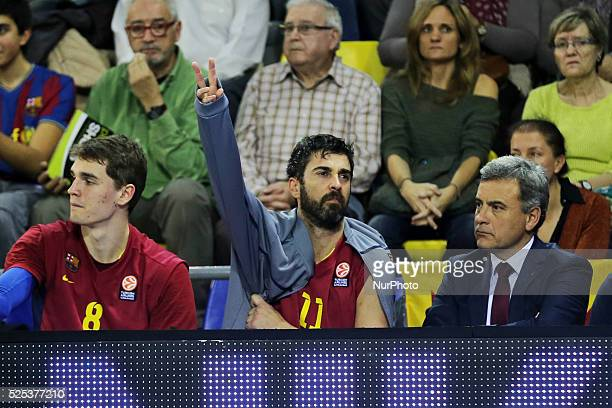 Juan Carlos Navarro injured in the match between FC Barcelona and Emporio Armani for the week 7 of the Euroleague basketball match played at the...