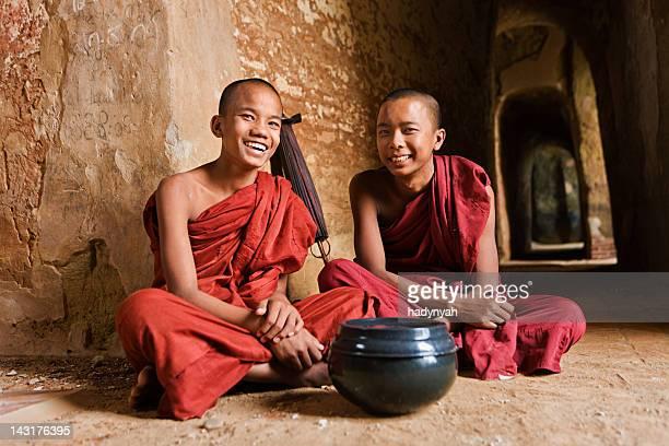 Novice Buddhist monks inside the temple