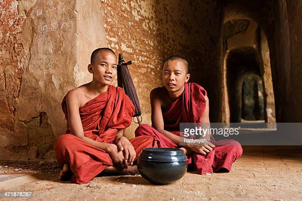 Novice Buddhist monks inside the temple