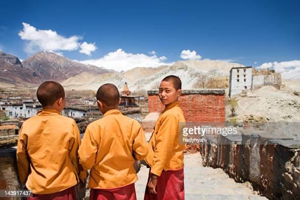 Novice monks in Tibetan monastery. Mustang.