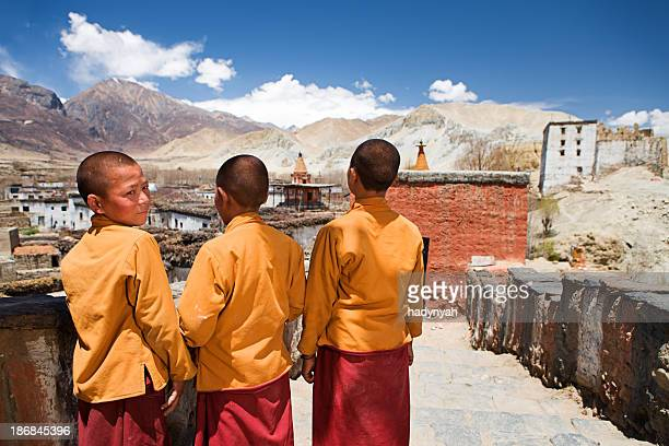 Novice monks in Tibetan monastery. Mustang.