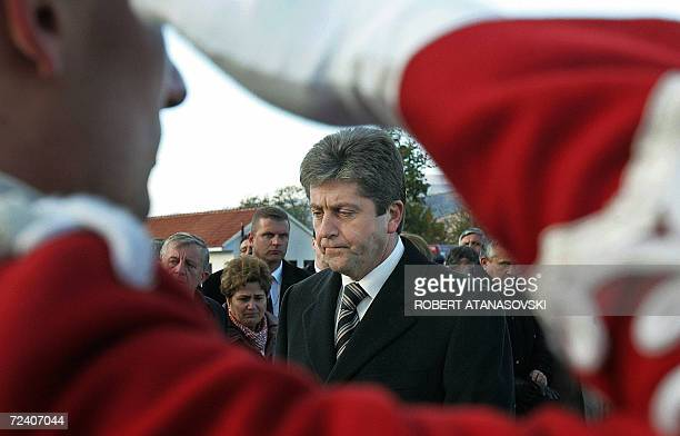 The Bulgarian President Georgi Prvanov who won a new mandate last Sunday with wide majority stands before the Presidential Guard at the Bulgarian War...