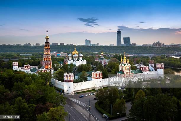 Neujungfrauen-Kloster in Moskau, Russland. Vogelperspektive