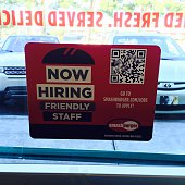 Now Hiring 'friendly faces' inside door At Smash burger taken October 29 2014