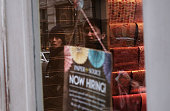 Now Hiring sign hangs in a window in lower Manhattan on March 4 2016 in New York City In another sign that the US economy continues to show growth...