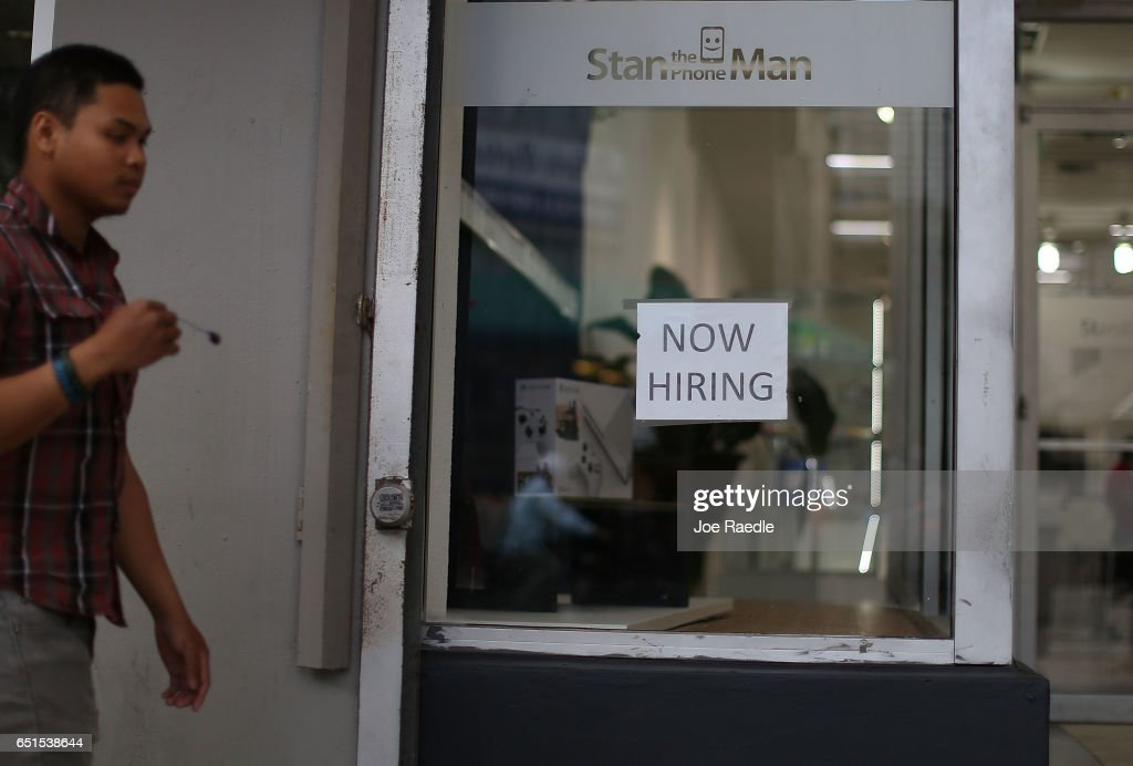A Now Hiring sign is seen as the Bureau of Labor Statistics reports that nonfarm payrolls increased by 235,000 in February and the unemployment rate was 4.7 percent in the first full month of President Donald Trump's term on March 10, 2017 in Miami, Florida.