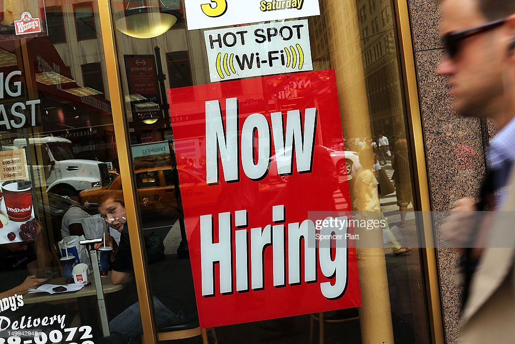 A 'now hiring' sign is viewed in the window of a fast food restaurant on August 7, 2012 in New York City. In a further sign that the American economy may be improving the U.S. labor Department said Tuesday that employers posted the most job openings in four years in June. The data comes after FridayÕs news that said employers in July added the most jobs in five months.