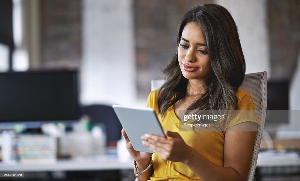 Now I can get feedback more quickly and conveniently : Stock Photo