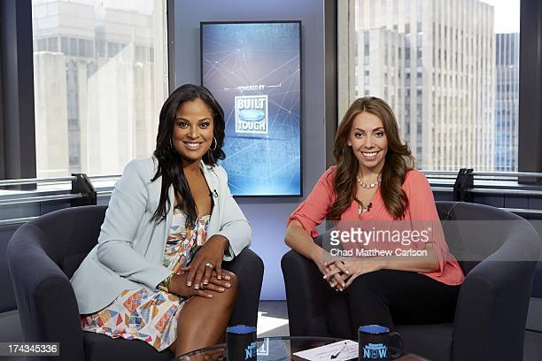 Portrait of Sports Illustrated Video anchor and host of live show Maggie Gray and former boxer Laila Ali on set at Time Life Building Behind the...