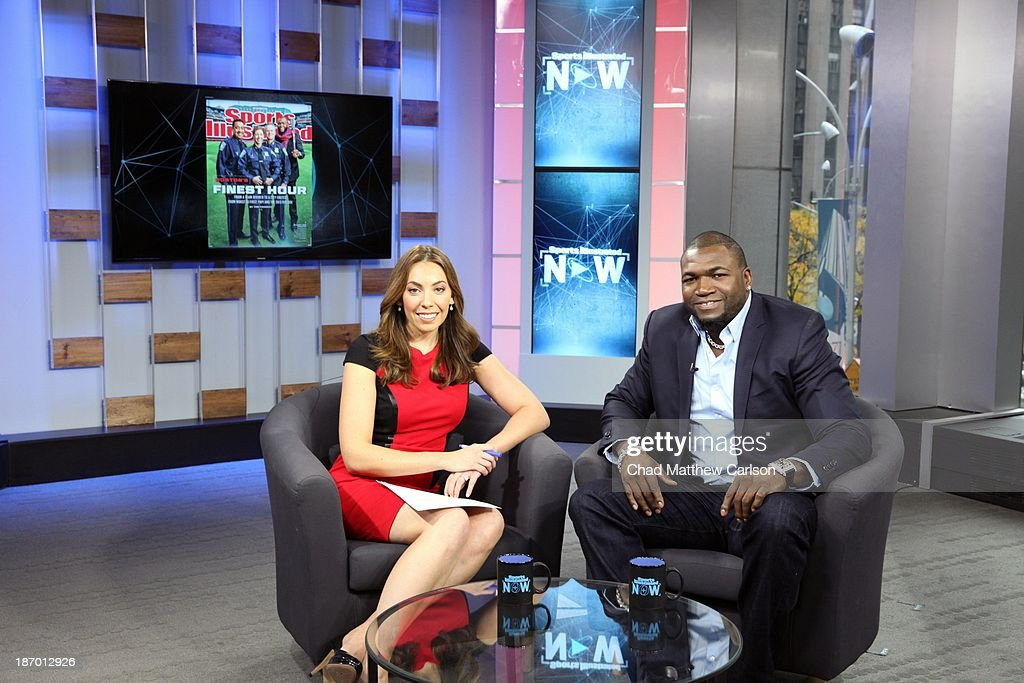 Portrait of Sports Illustrated Video anchor and host of live show Maggie Gray (L) and Boston Red Sox designated hitter David Ortiz on set at Time & Life Building. Behind the Scenes. Chad Matthew Carlson F18 )