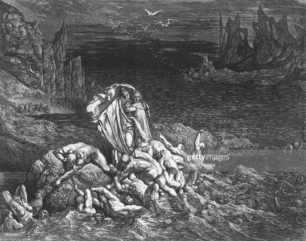 'Now seest thou, son! The souls of those whom anger overcame'. Virgil leads the author past souls writing in torment in the River Styx. An engraving by Gustave Dore, illustrating Canto VII of Dante's Inferno, written circa 1310.