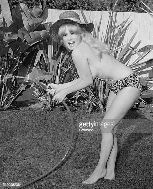 Now that's practical when you water plants you're bound to get wet So Mamie Van Doren curvy Hollywood actress wears as little as possiblenot to ruin...