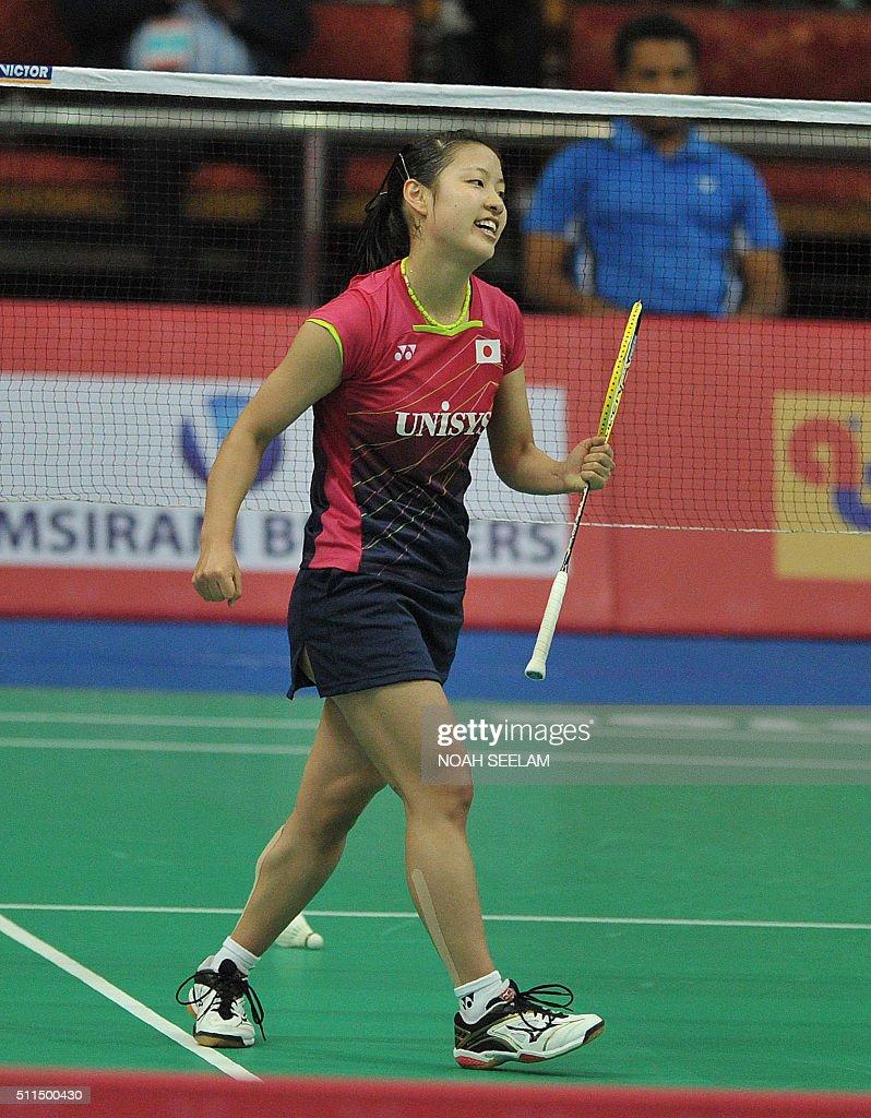 Nozomi Okuhara of Japan celebrates a point against Shixian Wang of