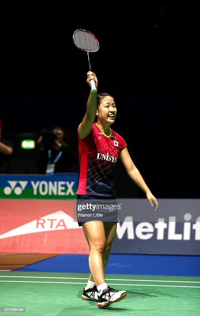 <a gi-track='captionPersonalityLinkClicked' href=/galleries/search?phrase=Nozomi+Okuhara&family=editorial&specificpeople=8294661 ng-click='$event.stopPropagation()'>Nozomi Okuhara</a> of Japan celebrates after beating Carolina Marin of Spain in the semi finals of the Women' s Singles match during day four of the BWF Dubai World Superseries 2015 Finals at the Hamdan Sports Complex on December 12, 2015 in Dubai, United Arab Emirates.