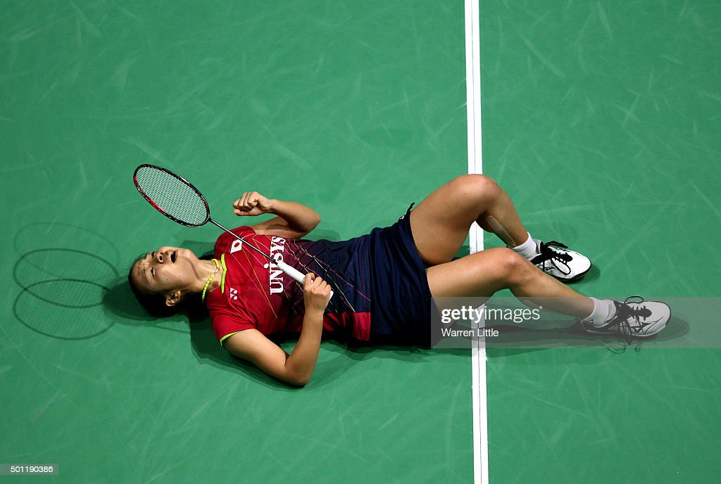 <a gi-track='captionPersonalityLinkClicked' href=/galleries/search?phrase=Nozomi+Okuhara&family=editorial&specificpeople=8294661 ng-click='$event.stopPropagation()'>Nozomi Okuhara</a> of Japan celebrates beating Yihan Wang of China to win the final of the Women's Singles on day five of the BWF Dubai World Superseries 2015 Finals at the Hamdan Sports Complex on December 13, 2015 in Dubai, United Arab Emirates.