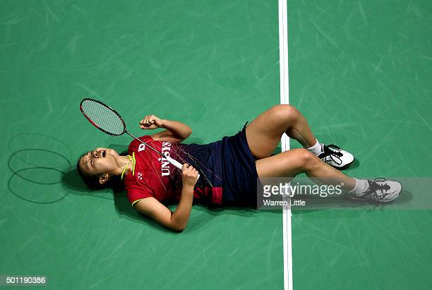 Nozomi Okuhara of Japan celebrates beating Yihan Wang of China to win the final of the Women's Singles on day five of the BWF Dubai World Superseries...