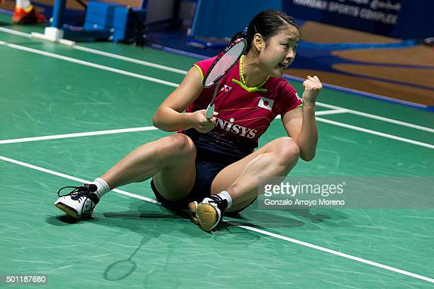 Nozomi Okuhara of Japan celebrates her victory in the Final Women's Single match against Wang Shixian of China during day five of the BWF Dubai World...