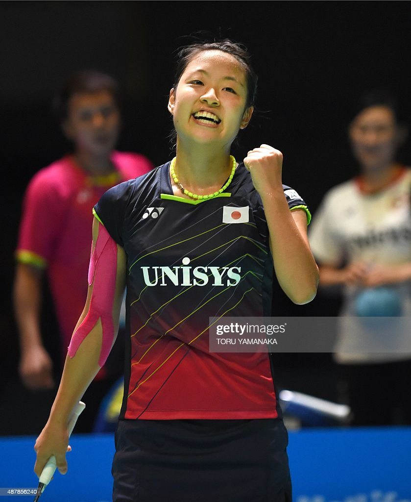 Nozomi Okuhara of Japan celebrates her victory over Tai Tzu ying