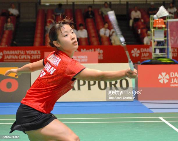 Nozomi Okuhara of Japan competes in the Women's Singles second round match against Pusarla V Sindhu of India during day three of the Daihatsu Yonex...