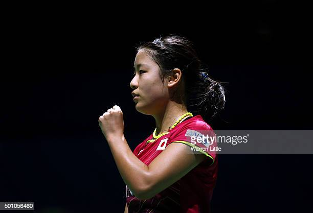 Nozomi Okuhara of Japan in action against Carolina Marin of Spain in the semi finals of the Women' s Singles match during day four of the BWF Dubai...
