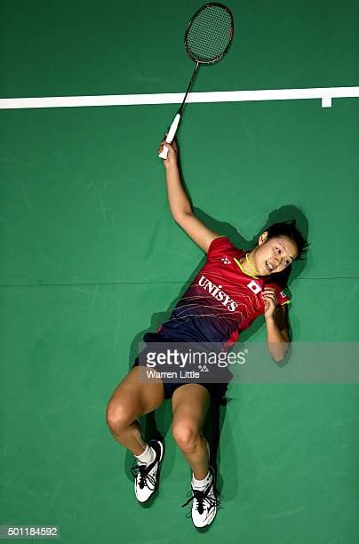 Nozomi Okuhara of Japan in action against Yihan Wang of China during the Women's Singles Final match on day five of the BWF Dubai World Superseries...