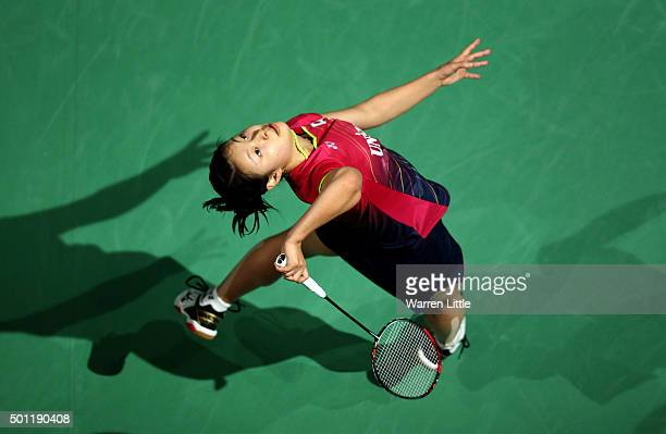 Nozomi Okuhara of Japan in action against Yihan Wang of China during the final of the Women's Singles on day five of the BWF Dubai World Superseries...
