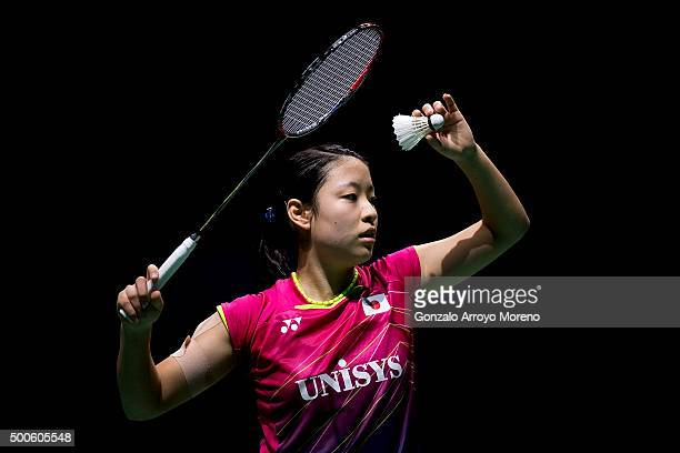 Nozomi Okuhara of Japan in action in her women's singles match against Saina Nehwal of India during day one of the BWF Dubai World Superseries 2015...