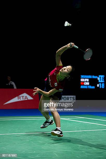 Nozomi Okuhara of Japan in action in the Final Women's Single match against Wang Shixian of China during day five of the BWF Dubai World Superseries...