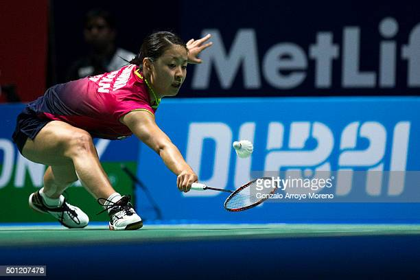 Nozomi Okuhara of Japan in action in the Final Women's Single match against Yihan Wang of China during day five of the BWF Dubai World Superseries...