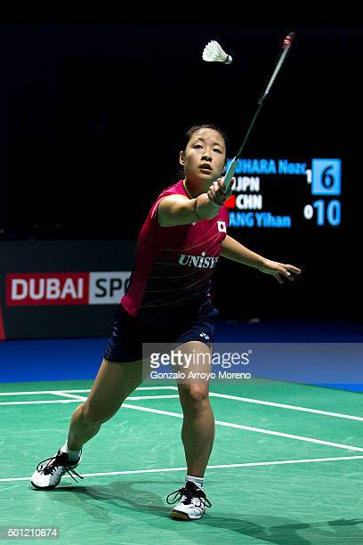 Nozomi Okuhara of Japan in action in the Final Womens Single match against Yihan Wang of China during day five of the BWF Dubai World Superseries...