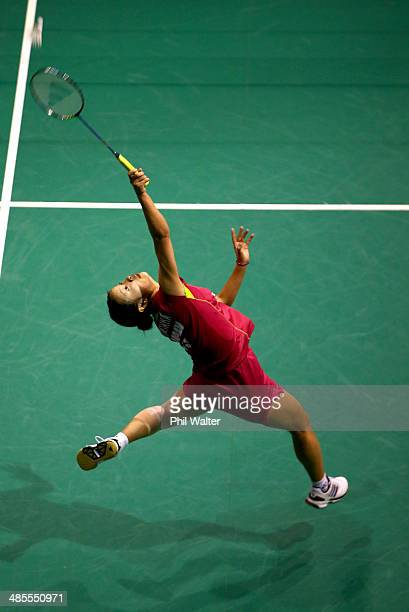 Nozomi Okuhara of Japan plays a forehand against Kana Ito of Japan in the womens final of the 2014 New Zealand Open at the North Shore Events Centre...