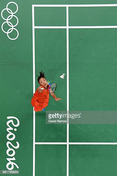 Nozomi Okuhara of Japan plays a shot during the Women's Badminton Singles Semifinal against Pusarla V Sindhu of India on Day 13 of the Rio 2016...