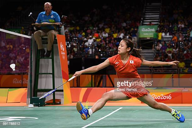 Nozomi Okuhara of Japan plays during the Women's Badminton Singles Semifinal against Pusarla V Sindhu of India on Day 13 of the Rio 2016 Olympic...