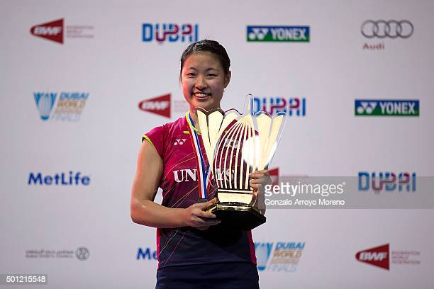 Nozomi Okuhara of Japan pose for a picture with her trophy during the award ceremony after winning the Final Womens Single match against Wang Shixian...